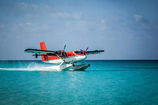 Seaplane transfers in the Maldives